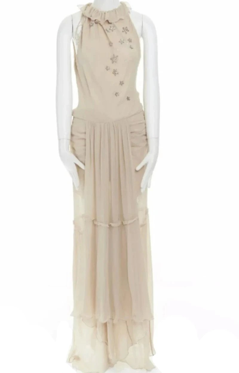 Paris Starry-Eye Silk Chiffon Gown
