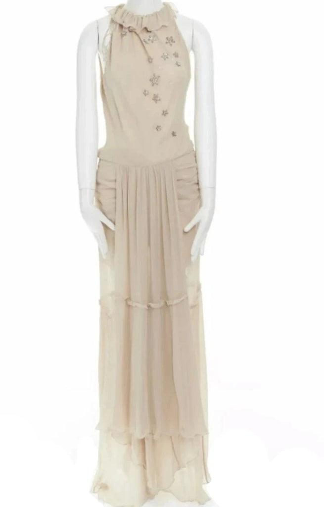 Emanuel Ungaro Paris Starry-Eye Silk Chiffon Gown front