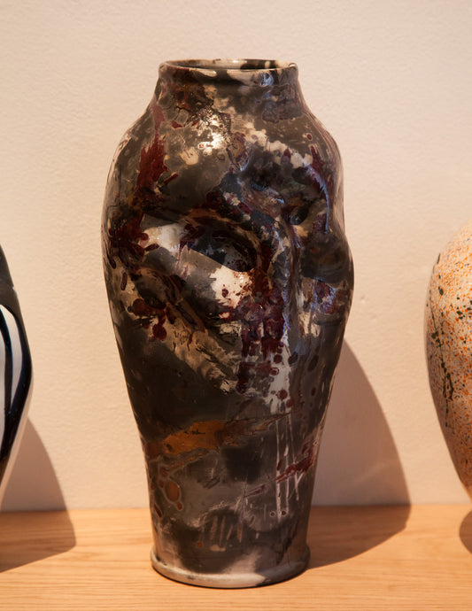 #77 Early Raku lamp base with too much going on that still manages to pretty well in part due to the form's elegance 1