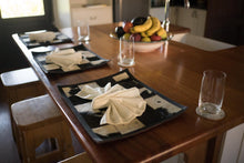 3 black and white nguni hide placemats