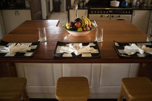 kitchen table set with nguni cowhide placemats