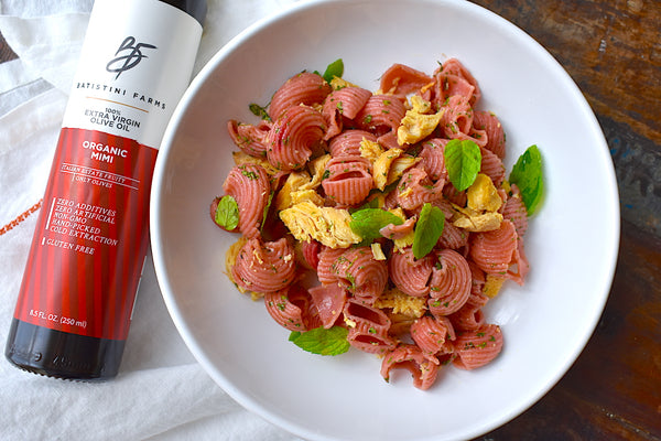 Batistini Farms Organic Fresh Beet Pasta with Cilantro Mint Chicken Recipe (Video)