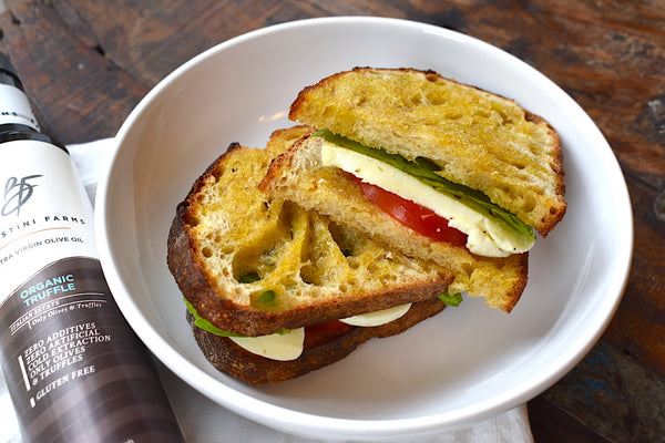Batistini Farms Organic Truffle Olive Oil, Mozzarella, Tomato, Basil Sandwich Recipe (simple, easy, quick)