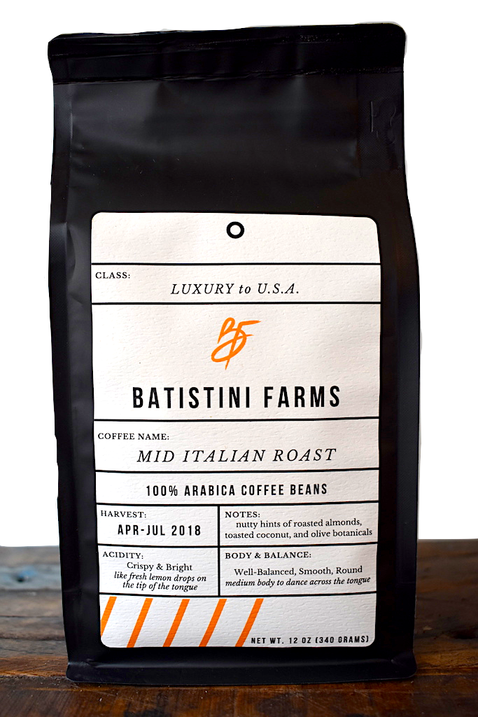 COFFEE BATISTINI FARMS MID ITALIAN ROAST 12 oz