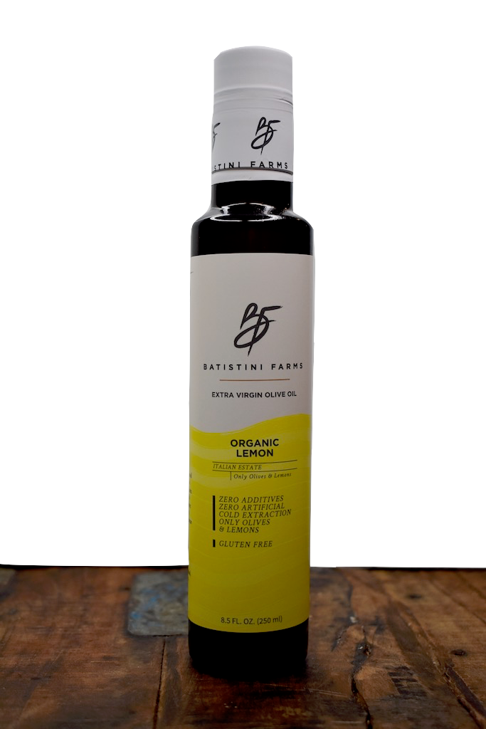 Batistini Farms USA Organic Lemon Extra Virgin Olive Oil 100% Olives All Natural Ingredients Organic Olive Oil Winston Salem NC Italy Estate Artisan Small Batch Company