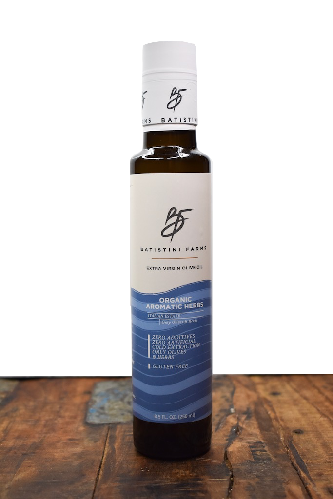 Batistini Farms Organic Aromatic Herb Extra Virgin Olive Oil From Italian Estates Artisan Small Batch Local Business in Winston Salem NC North Carolina Organic Olive Oil Rosemary Olive Oil Herb Olive Oil All Natural Ingredients James Beard Chef Italian Olive Oil Award Winning