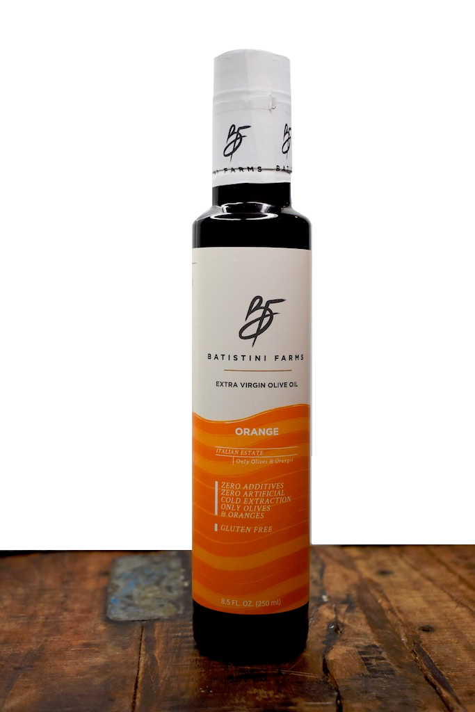 Batistini Farms Organic Orange Extra Virgin Olive Oil From Italy 100% Olives All Natural Ingredients Organic Olive Oil From Italy Estate Small Batch Artisan Estate Company Winston Salem Local Business NC Fresh Farmers Italian