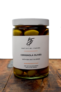 Batistini Farms Cerignola Olives From Italy Extra Virgin Olive Oil 100% Olives All Natural No additives Olives Small Batch Artisan Olives Martini Olives Winston Salem NC Local Italian