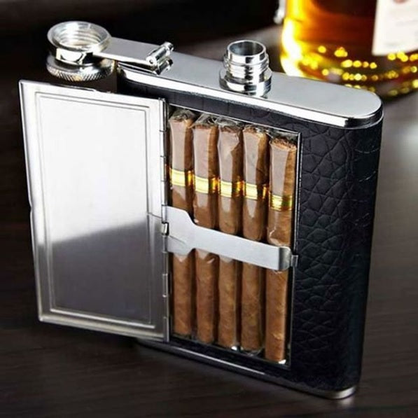 Whiskey Flask with Cigar Cabin