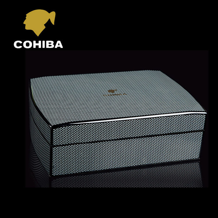 COHIBA Luxury Black Carbon Fiber Humidor-cigaraccessories
