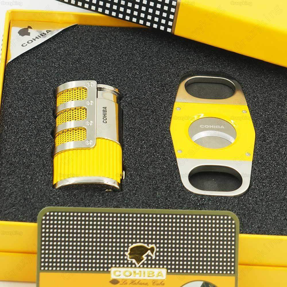 Free Shipping COHIBA Yellow Metal 3 Torch Jet Flame Cigar Lighter With Cutter-cigaraccessories