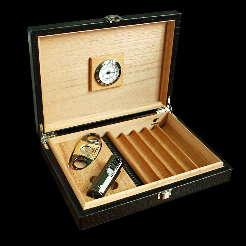 COHIBA Travel Black Alligator Set