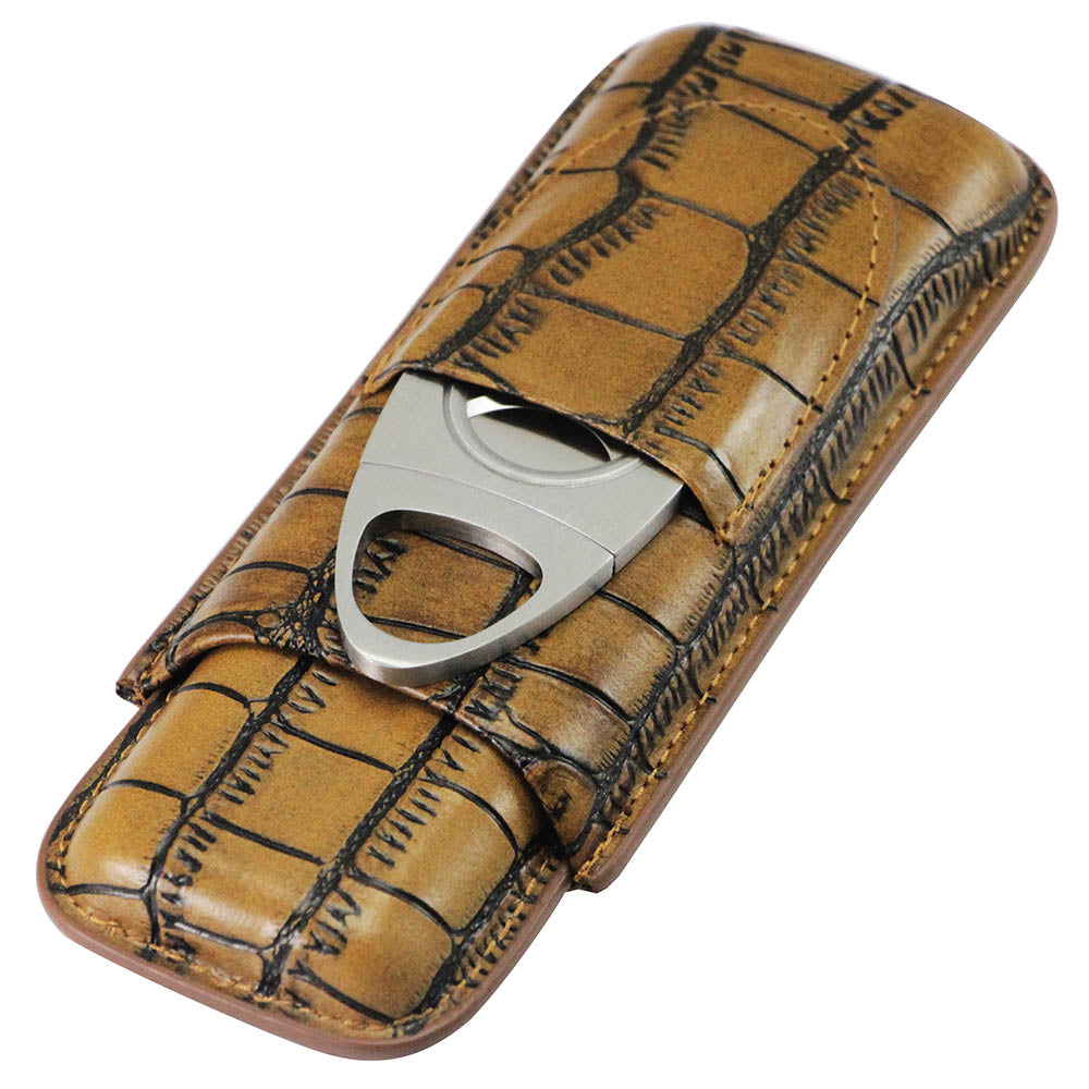 Crocodile Pattern Leather 2 Tube Case