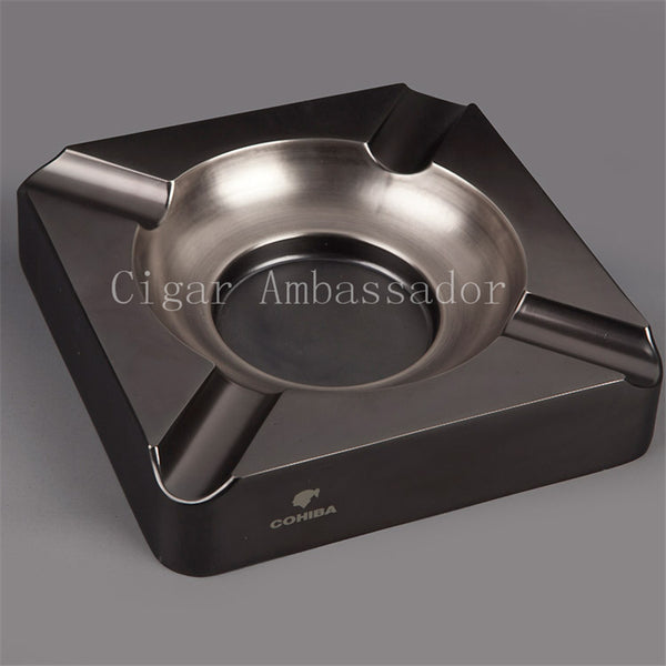 Nice COHIBA Chrome Black Cigar Ashtray