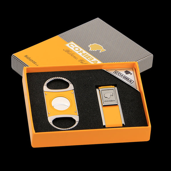 Yellow Gadgets Lighter and Sharp Metal Cigar CutterGift Set