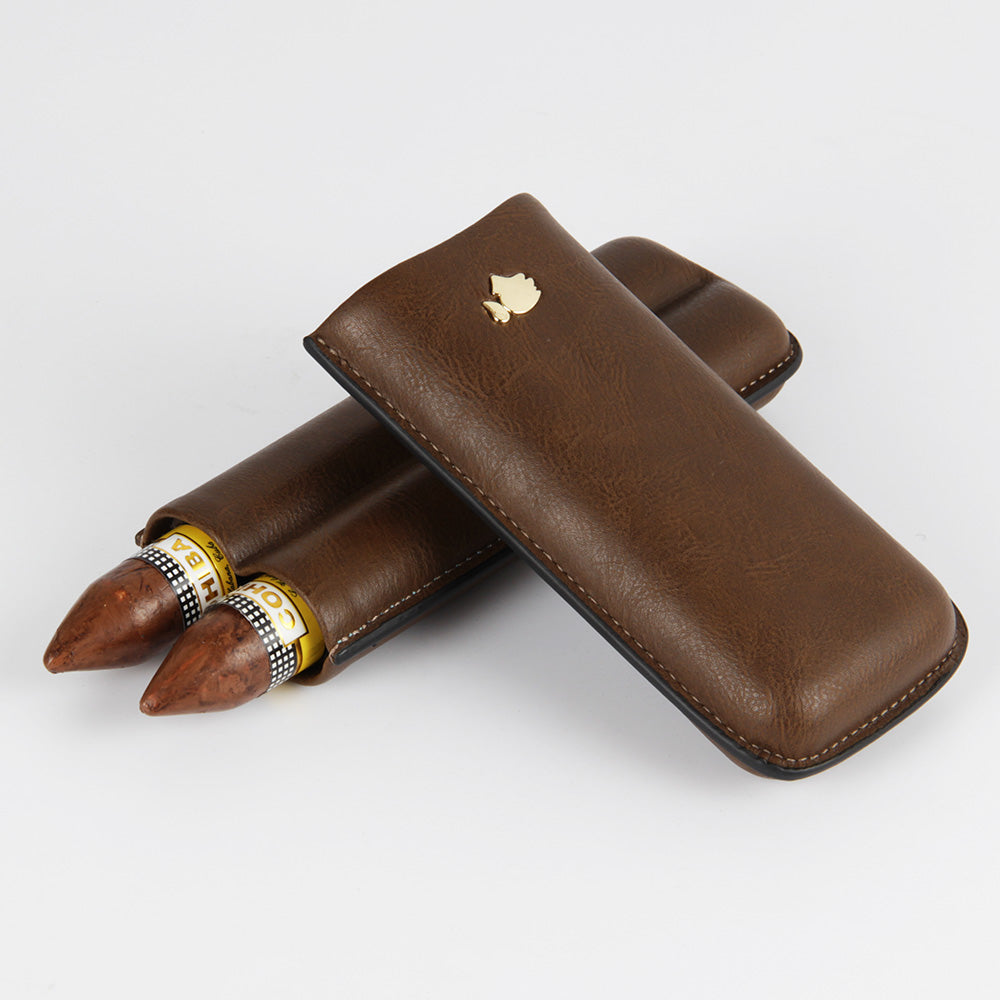 COHIBA Coffe Leather Cigar Case 2 Count