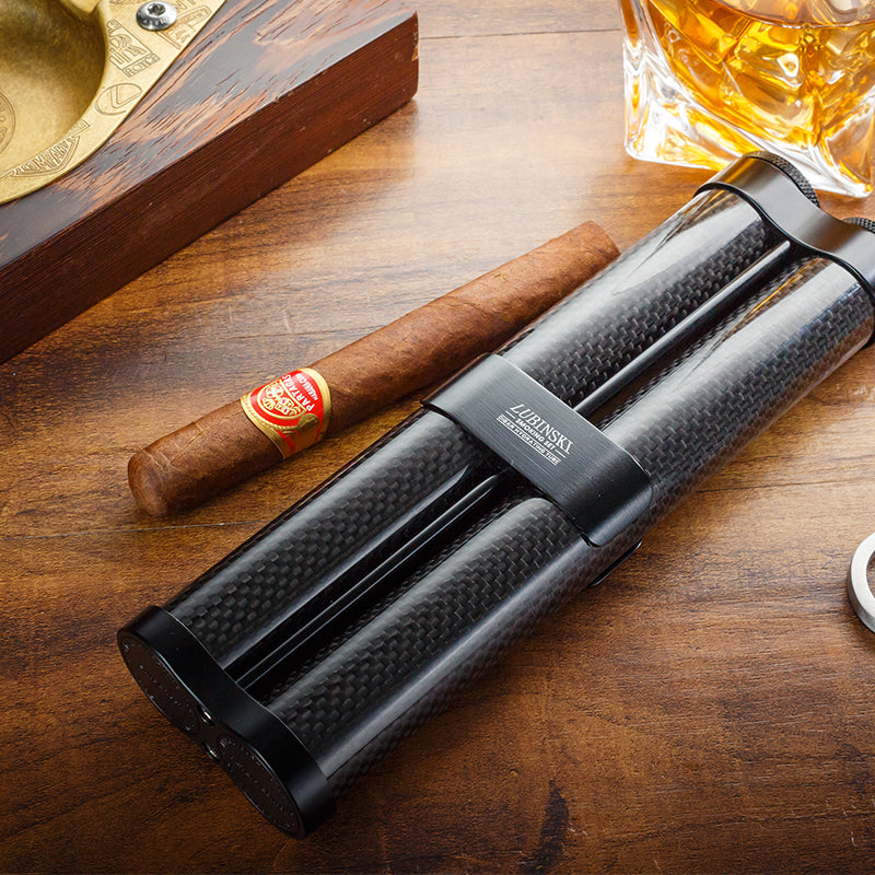 Luxury Carbon Fiber and Metal Cigar Tube