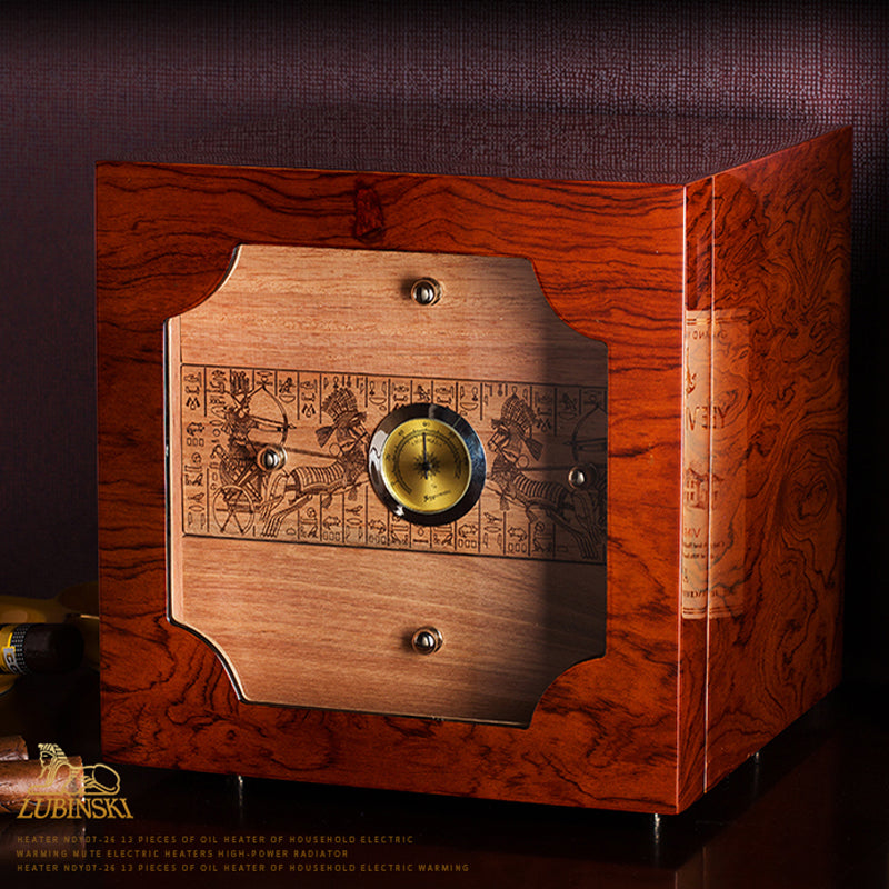 LUBINSKI Brown High Glossy Cigar Humidor