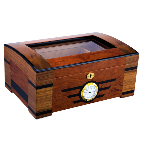 LUBINSKI Cedar Wood Glass Humidor With  Humidifier