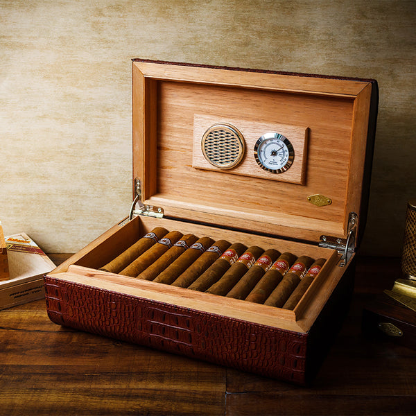 LUBINSKI Brown Leather Cedar Wood Cigar Humidor