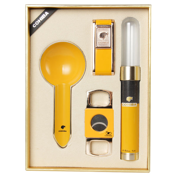 COHIBA Yellow Ashtray Cutter Tube Lighter Set W/ Gift Box