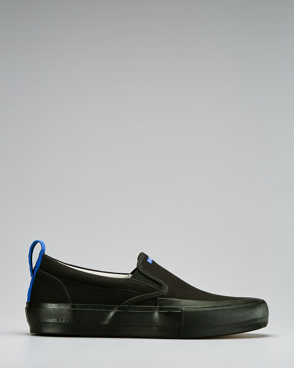 TERRA CANVAS SLIP-ON WRAP TOE<br />Black/Black/OBRA Blue