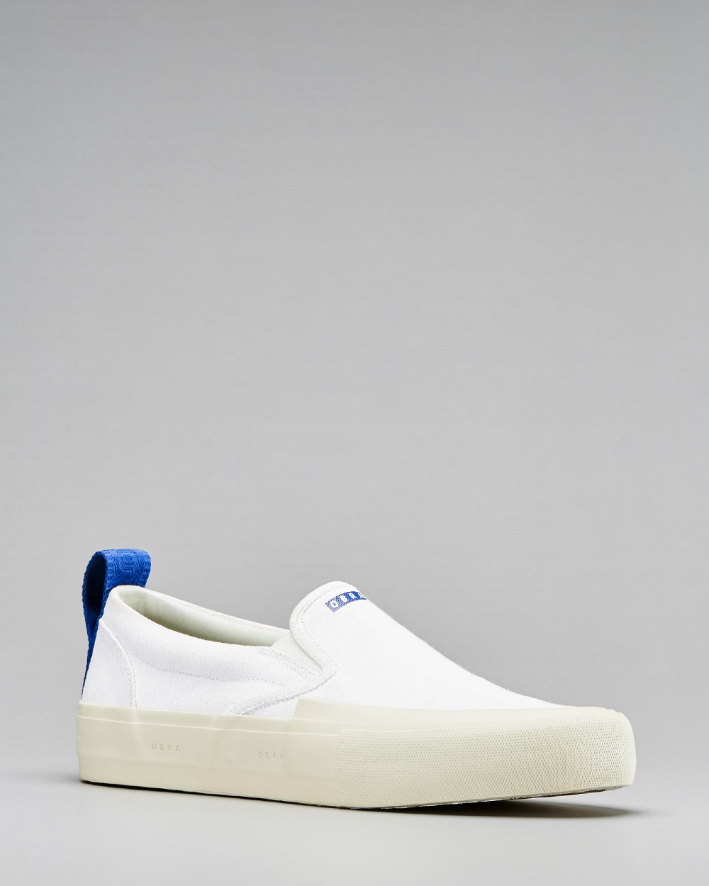 TERRA CANVAS SLIP-ON WRAP TOE <br/>White/Off-White/OBRA Blue
