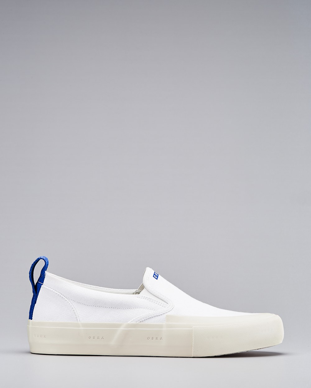 TERRA CANVAS SLIP-ON WRAP TOE<br />White/Off-White/OBRA Blue