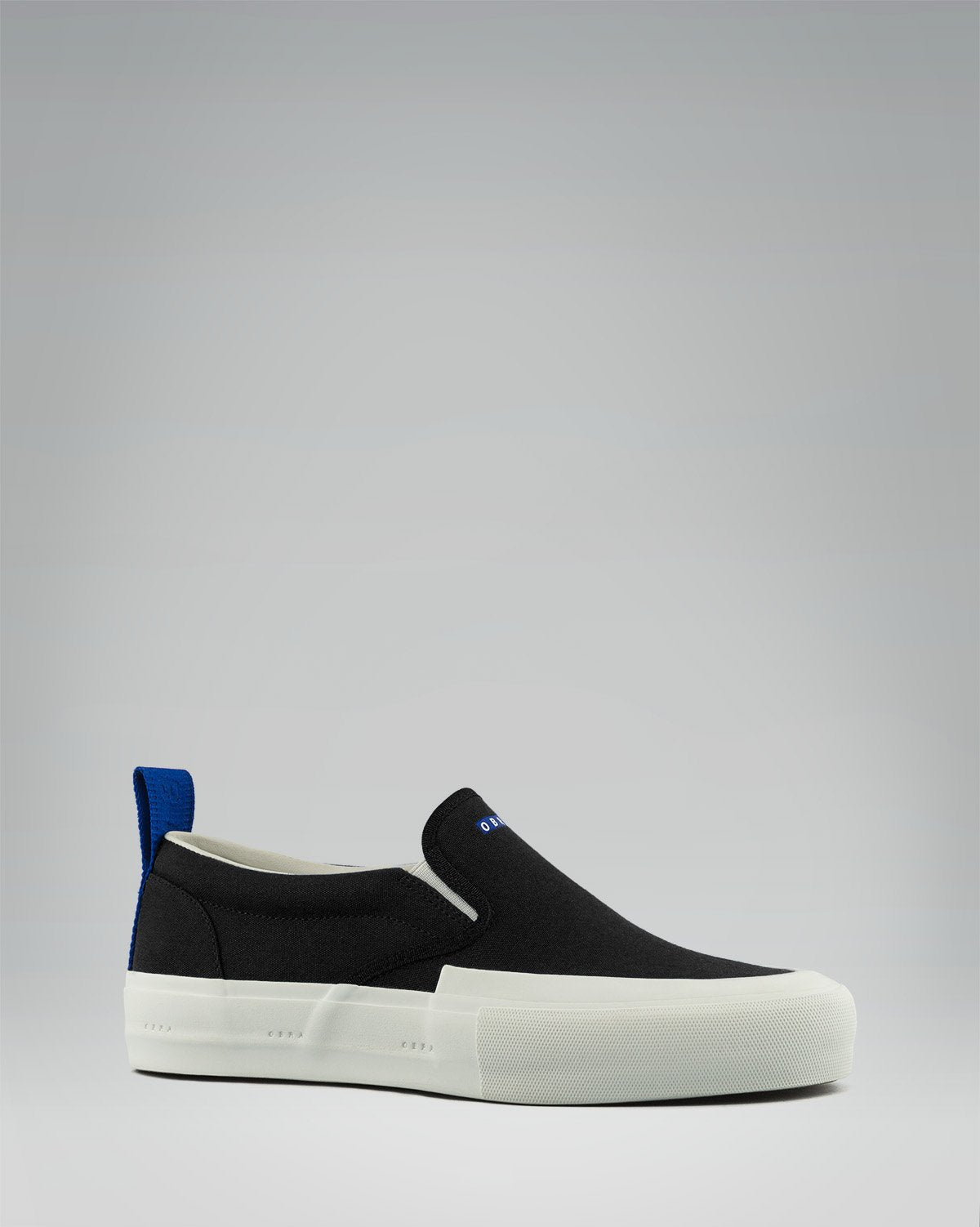 240 CANVAS SLIP-ON WRAP TOE<br />Black/White/OBRA Blue