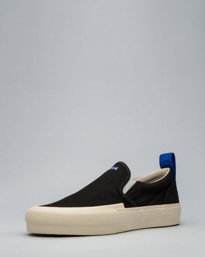 CANVAS SLIP-ON WRAP TOE <br/>Black/Off White/OBRA Blue