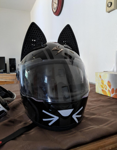 Black Scorpion Helmet with Cat Ears on top and Cat whiskers on the chinbar