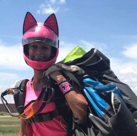 Liz Doss with the Cat Ear Upgrade on her Cookie G3 Sky diving helmet