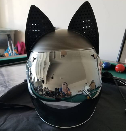 Catalina Zimdars Custom 500 Bell Motorcycle Helmet with Black Cat Ears