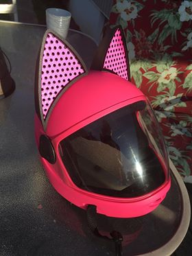 pink Decals in the Cat Ear Upgrade on Cookie G3 Skydiving helmet