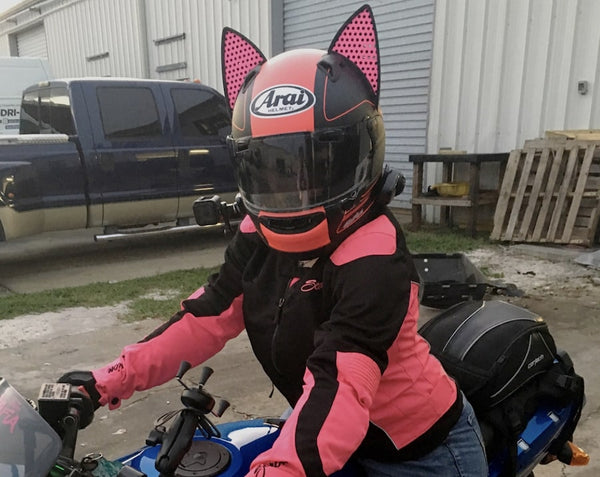 Kawi_kitty Pink Arai Motorcycle Helmet with Pink Decals in Cat Ear Helmet Accessory