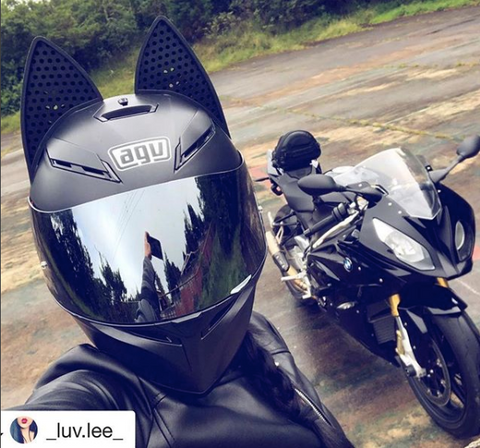 Luv.lee Black AGV Motorcycle Helmet with Black Cat Ears and mirror tint helmet visor