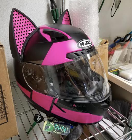 Pink HJC Motorcycle Helmet with Cat Ear Upgrades and Pink Decals