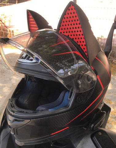 Ronit HJC Red Motorcycle Helmet with Cat Ear Upgrade and Red decals