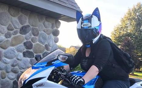Samantha Norwich Blue Striped SHOEI Motorcycle Helmet with Cat Ears and Blue Reflective Decals