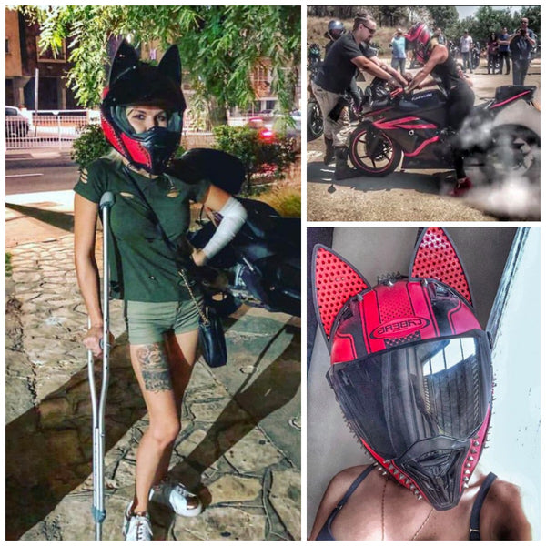 alecsandra_fleer in red Caberg Motorcycle Helmet with spikes gems and Red decals in Cat Ear Helmet Upgrade