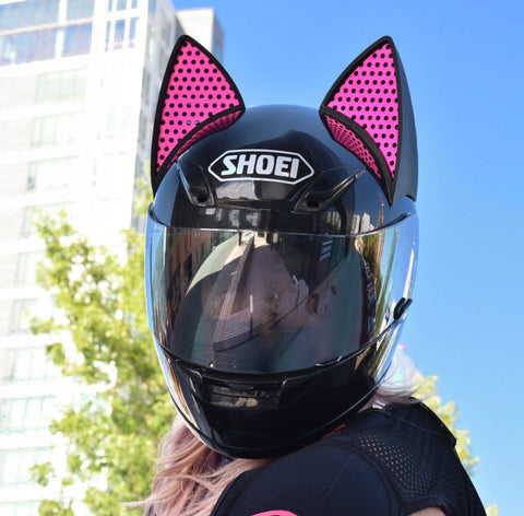 artofcurly pic of ja motogeek Shoei Motorcycle Helmet with Cat Ears and Pink Decals