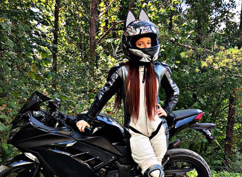 karlydaneholder in BILT Motorcycle Helmet with Cat Ears and White Decals