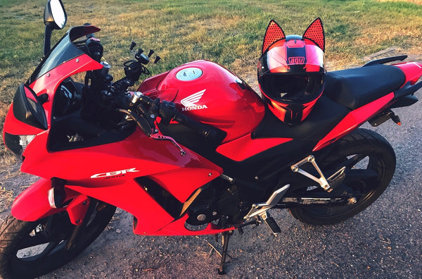 kat ramirez Red AGV Motorcycle Helmet with Cat Ear Upgrade and Red reflective decals