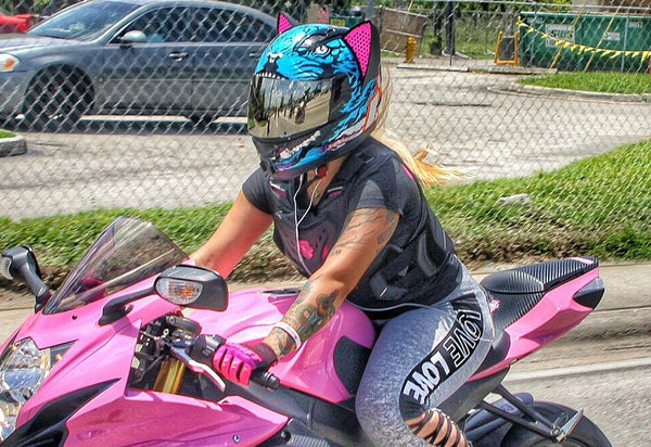 littlepinkgsxr Icon Alliance Berserker Motorcycle Helmet with Cat Ear Accessory and Pink decals1