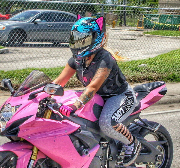 littlepinkgsxr Icon Alliance Motorcycle Helmet with Cat Ear Accessory