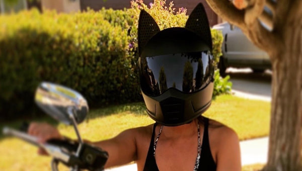 michellelachica_ Black Biltwell Lanesplitter Motorcycle helmet with Black Cat Ear add on