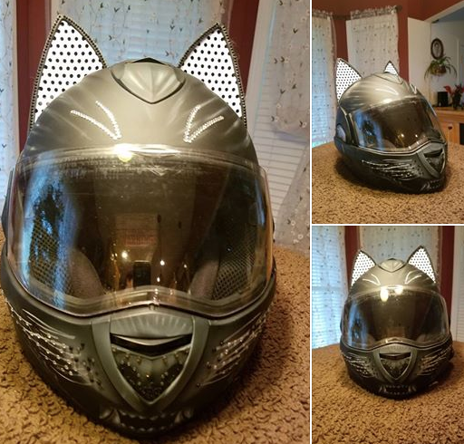 regina howell Cat Ear Motorcycle Helmet with custom painted cat face whiskers and crystals jewels and White decals