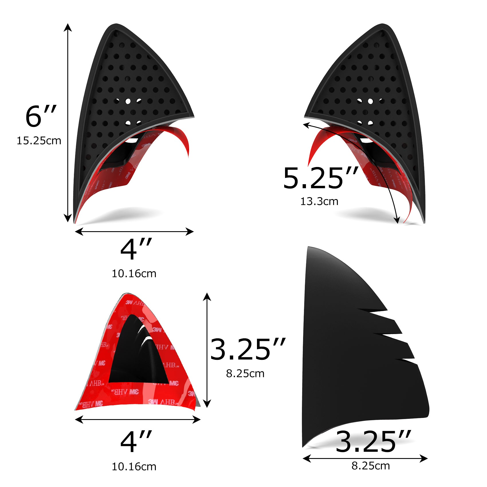 Cat Ear Helmet Upgrade: BLACK | Easy Peel-and-Stick Helmet Accessory with 5 Colored Decals included