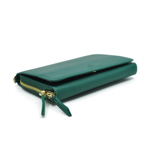 Taku_and_Grace_Leather_Convertible_clutch_bag_evergreen_side_view