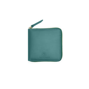 Taku_and_Grace_Leather_Zip_Wallet_Miyake_evergreen_front_view